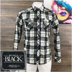 Buckle Black Mens Shirt Athletic Fit L Large